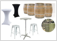 HIRE BAR TABLES - BAR STOOLS - BARRELS - DRUMS