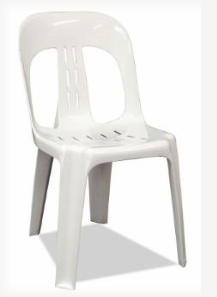 Hire white plastic stacking chair - compact stacking for transport