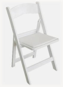 Hire folding white wedding chair - easy to transport