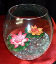 Fishbowl centerpiece on red Satin