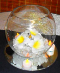 Fishbowl on mirror base centerpiece