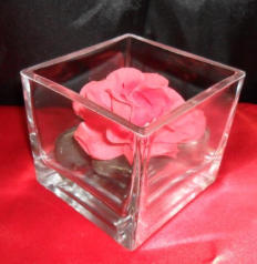 Variation on glass cube centrepiece